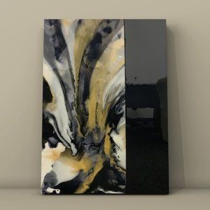 Original Art Black and Gold Abstract resin canvas